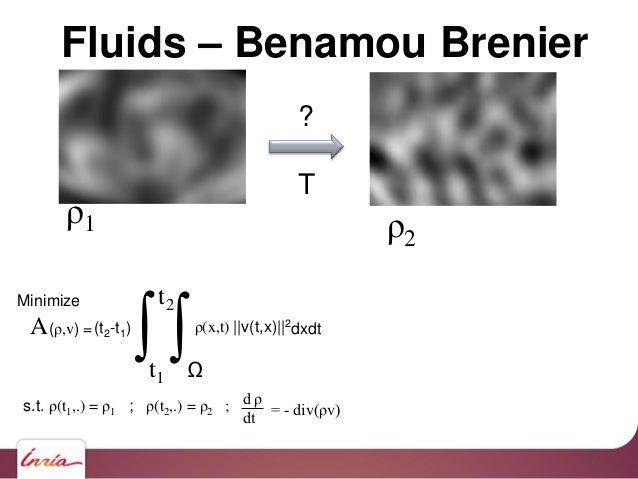 ? T Fluids – Benamou Brenier Minimize A(ρ,v) = ∫t1 t2 (t2-t1) ∫Ω ρ(x,t)   v(t,x)  2 dxdt s.t. ρ(t1,.) = ρ1 ; ρ(t2,.) = ρ2 ...