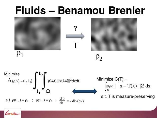 ? T Fluids – Benamou Brenier ∫t1 t2 (t2-t1) ∫Ω ρ(x,t)   v(t,x)  2 dxdt s.t. ρ(t1,.) = ρ1 ; ρ(t2,.) = ρ2 ; d ρ dt = - div(ρ...