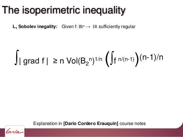 ∫  grad f   ≥ n Vol(B2 n)1/n (∫f n/(n-1))(n-1)/n L1 Sobolev inegality: Given f: IRn → IR sufficiently regular Explanation ...