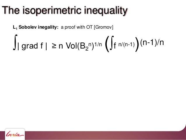 ∫  grad f   ≥ n Vol(B2 n)1/n (∫f n/(n-1))(n-1)/n L1 Sobolev inegality: a proof with OT [Gromov] The isoperimetric inequali...