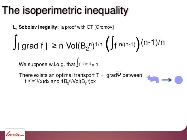 ∫  grad f   ≥ n Vol(B2 n)1/n (∫f n/(n-1))(n-1)/n L1 Sobolev inegality: a proof with OT [Gromov] There exists an optimal tr...