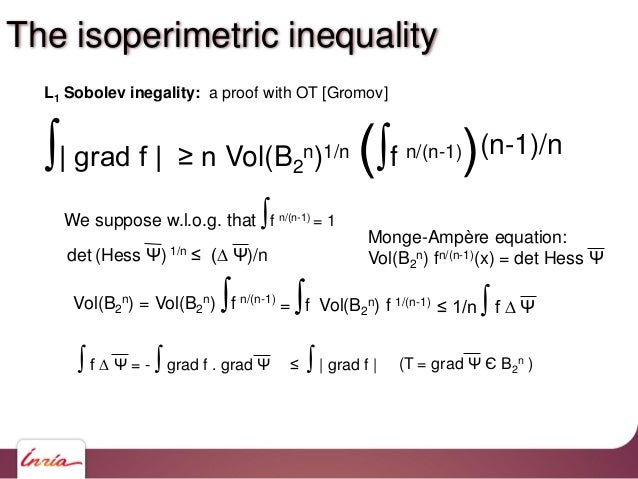 ∫  grad f   ≥ n Vol(B2 n)1/n (∫f n/(n-1))(n-1)/n L1 Sobolev inegality: a proof with OT [Gromov] We suppose w.l.o.g. that ∫...