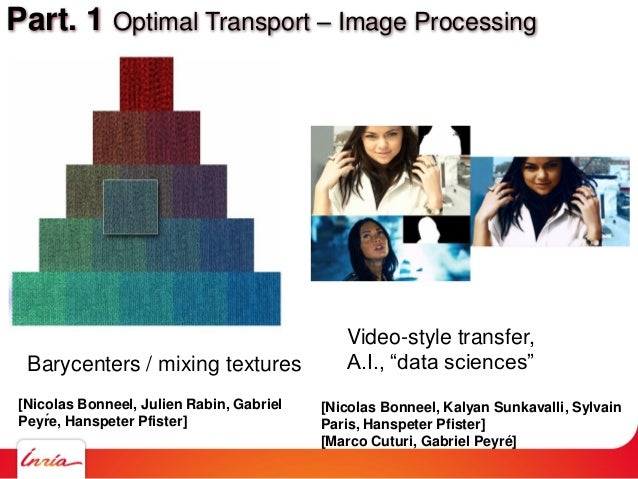 """Part. 1 Optimal Transport – Image Processing Barycenters / mixing textures Video-style transfer, A.I., """"data sciences"""" [Ni..."""
