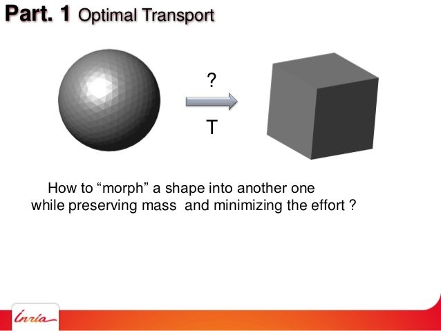 """Part. 1 Optimal Transport How to """"morph"""" a shape into another one while preserving mass and minimizing the effort ? ? T"""