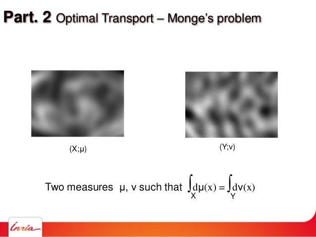 Part. 2 Optimal Transport – Monge's problem (X;μ) (Y;ν) Two measures μ, ν such that ∫dμ(x) = ∫dν(x) X Y