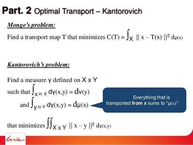 Part. 2 Optimal Transport – Kantorovich Monge's problem: Find a transport map T that minimizes C(T) = ∫X    x – T(x)   2 d...