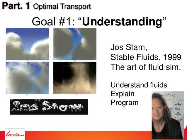 """Part. 1 Optimal Transport Goal #1: """"Understanding"""" Jos Stam, Stable Fluids, 1999 The art of fluid sim. Understand fluids E..."""