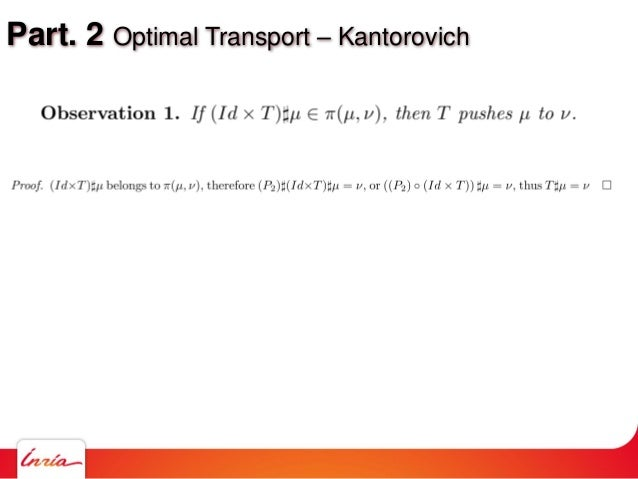 Part. 2 Optimal Transport – Kantorovich