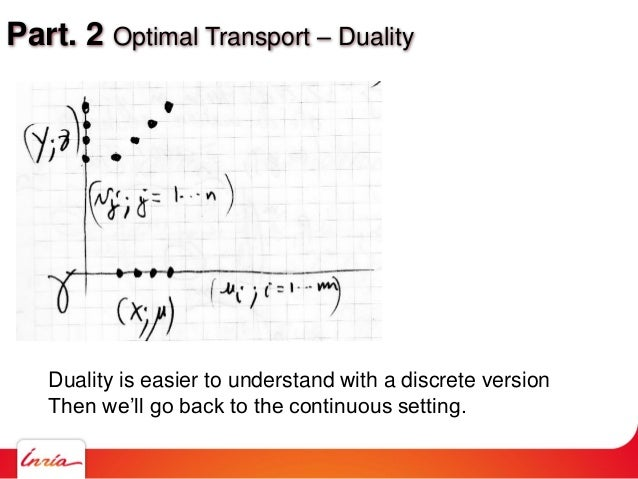 Part. 2 Optimal Transport – Duality Duality is easier to understand with a discrete version Then we'll go back to the cont...
