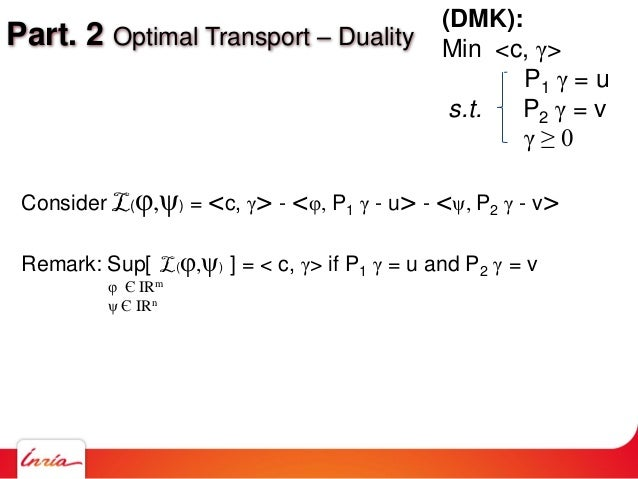 Part. 2 Optimal Transport – Duality Consider L(φ,ψ) = <c, γ> - <φ, P1 γ - u> - <ψ, P2 γ - v> Remark: Sup[ L(φ,ψ) ] = < c, ...