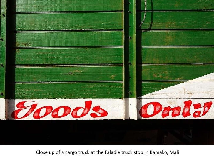 Close up of a cargo truck at the Faladie truck stop in Bamako, Mali<br />