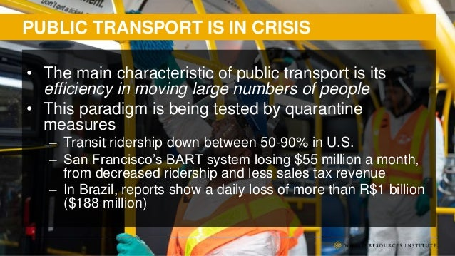 PUBLIC TRANSPORT IS IN CRISIS • The main characteristic of public transport is its efficiency in moving large numbers of p...