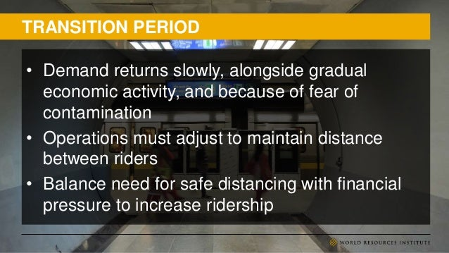 TRANSITION PERIOD • Demand returns slowly, alongside gradual economic activity, and because of fear of contamination • Ope...