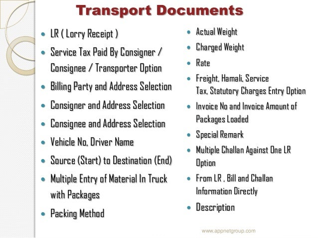 specifications 9 lr lorry receipt