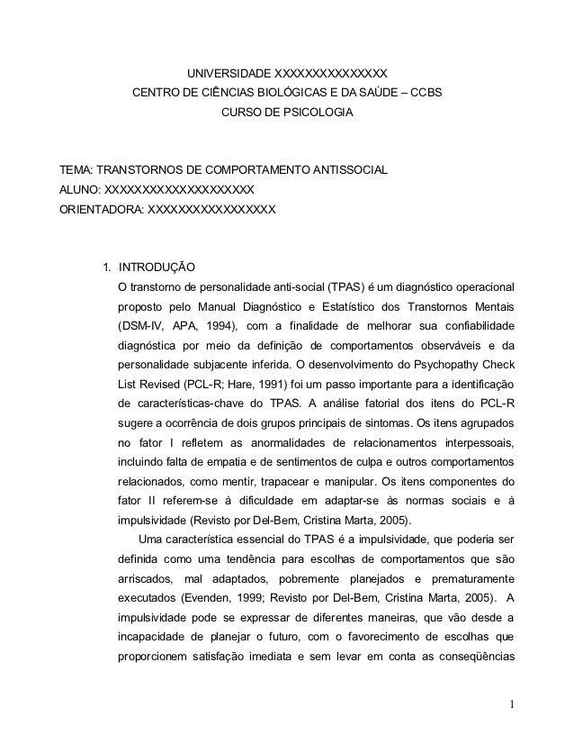 UNIVERSIDADE XXXXXXXXXXXXXXX          CENTRO DE CIÊNCIAS BIOLÓGICAS E DA SAÚDE – CCBS                            CURSO DE ...