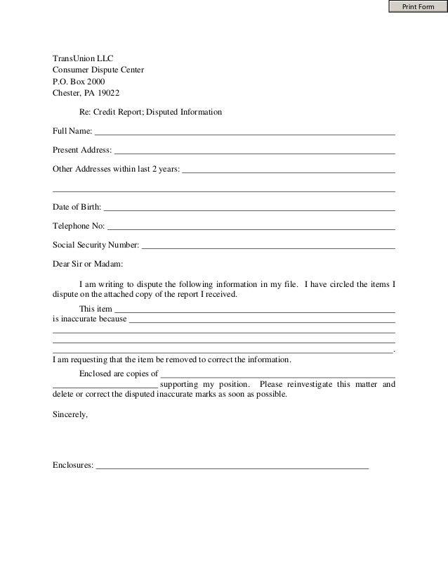 Trans Union Dispute form