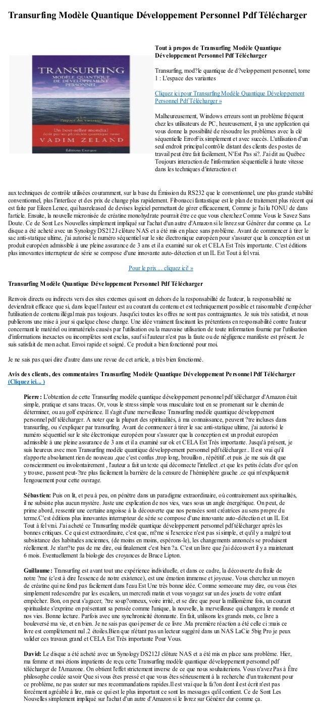 Transurfing Modèle Quantique Développement Personnel Pdf Téléchargeraux techniques de contrôle utilisées couramment, sur l...