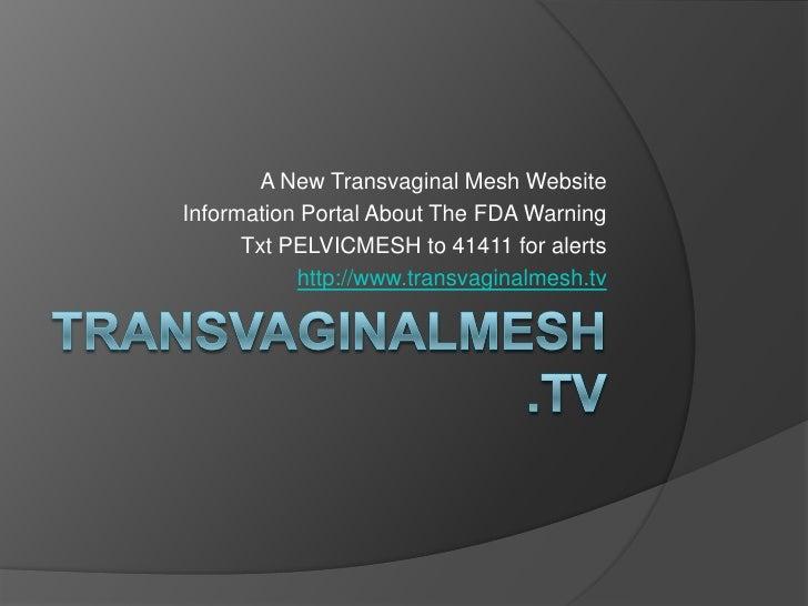 fda guidelines for pelvic mesh 2011