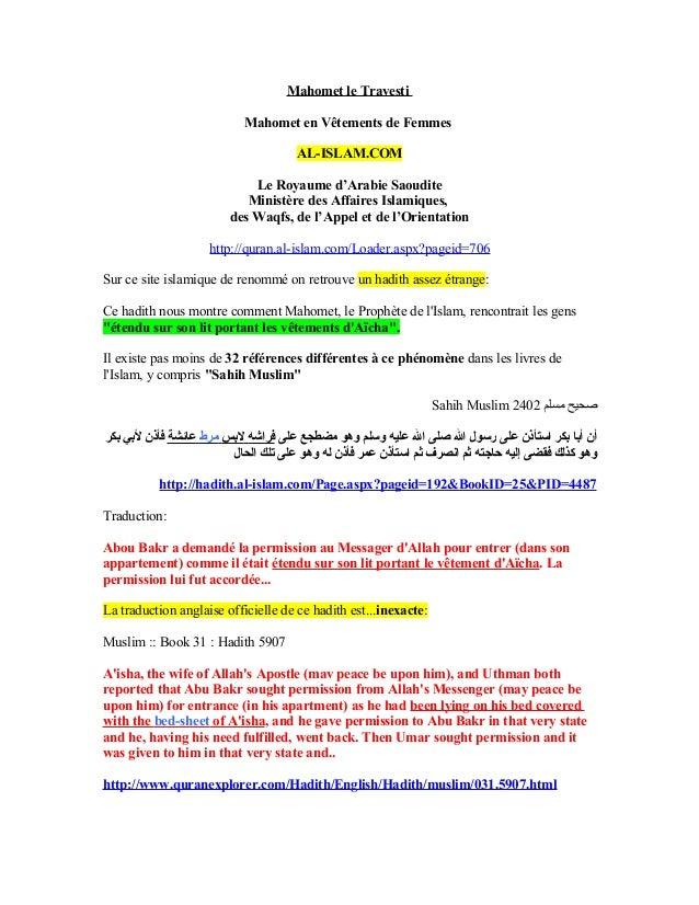 Mahomet le Travesti                           Mahomet en Vêtements de Femmes                                     AL-ISLAM....