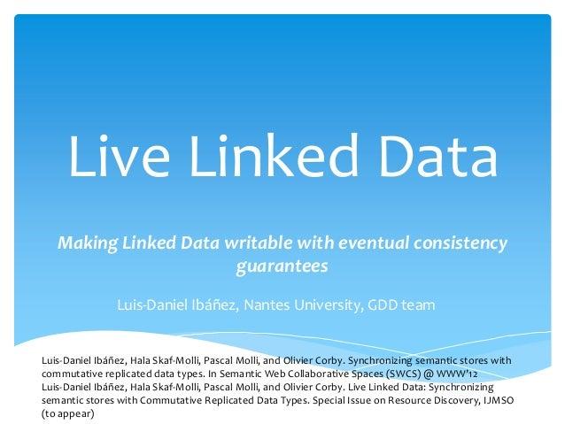 Live Linked Data Making Linked Data writable with eventual consistency guarantees Luis-Daniel Ibáñez, Nantes University, G...