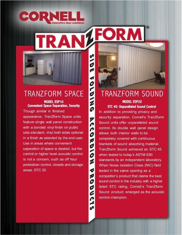 SIDEFOLDINGACCORDIONPRODUCTS TRANZFORM SOUND MODEL ESP20 STC 45: Unparalleled Sound Control In addition to providing priva...