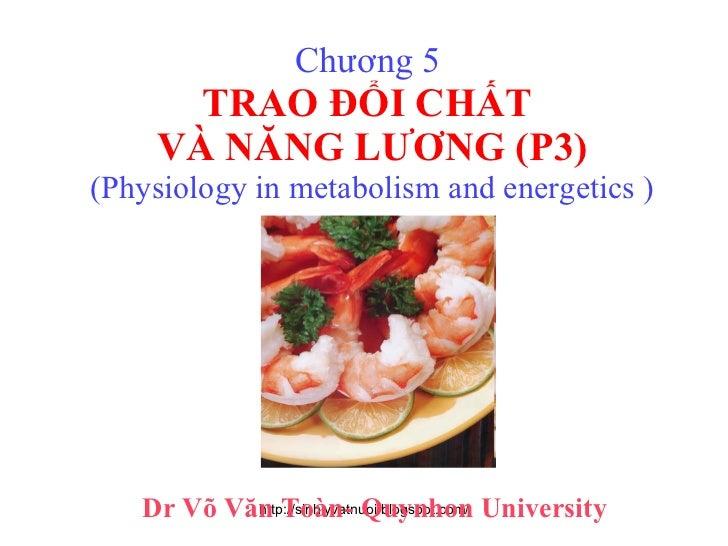 Chương 5  TRAO ĐỔI CHẤT  VÀ NĂNG LƯƠNG (P3) (Physiology in metabolism and energetics ) Dr Võ Văn Toàn- Quynhon University