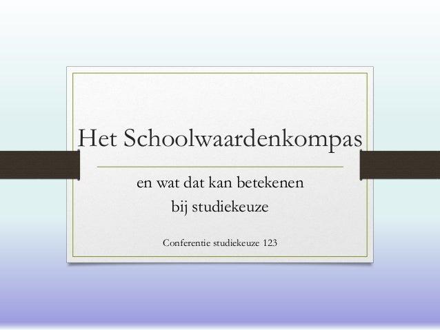 Het Schoolwaardenkompas en wat dat kan betekenen bij studiekeuze Conferentie studiekeuze 123