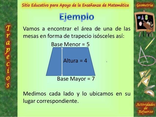 Aplicamos la fórmula y encontramos elárea del trapecio:Base Mayor = 7Base Menor = 5Altura = 4A = {(base mayor + base menor...