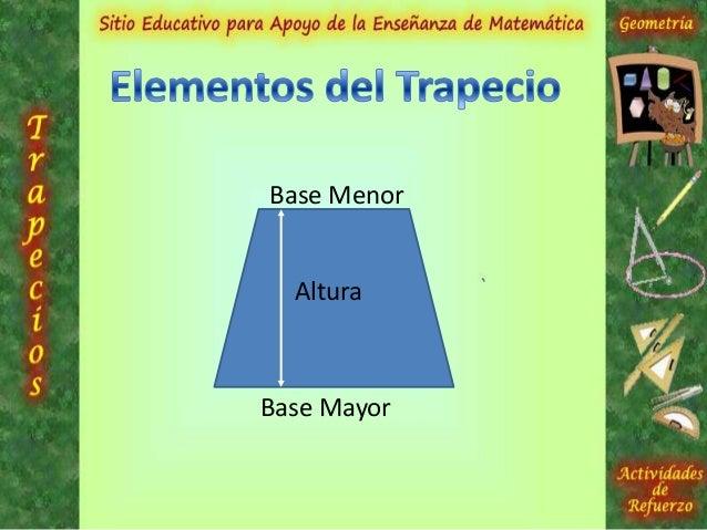 Se tienen tres clases de trapecios que son:•Trapecio Isósceles•Trapecio Rectángulo•Trapecio EscalenoCada trapecio tiene su...