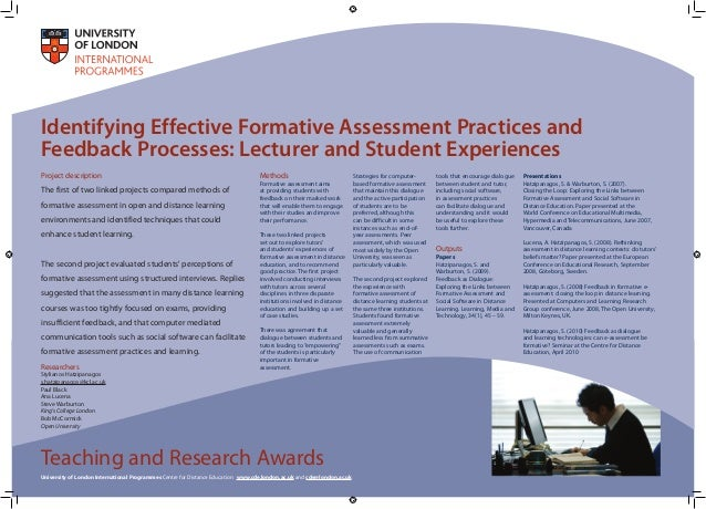 Identifying Effective Formative Assessment Practices and Feedback Processes: Lecturer and Student Experiences Project desc...