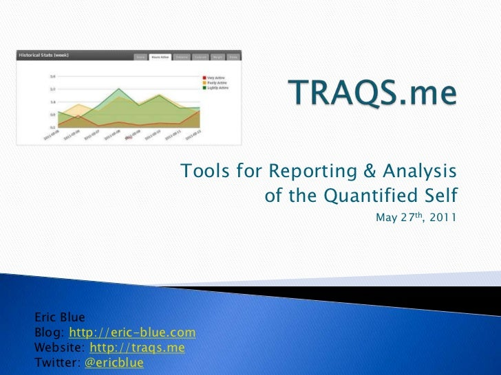 TRAQS.me<br />Tools for Reporting & Analysis<br />of the Quantified Self<br />May 27th, 2011<br />Eric Blue<br />Blog: htt...