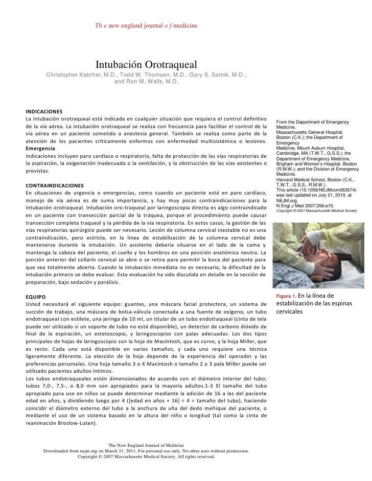 Th e new england journal o f medicine                                Intubación Orotraqueal        Christopher Kabrhel, M....