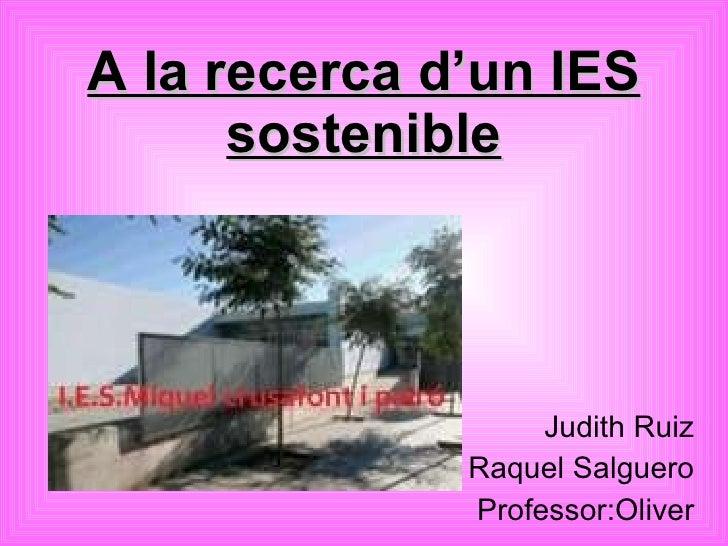 A la recerca d'un IES sostenible Judith Ruiz Raquel Salguero Professor:Oliver