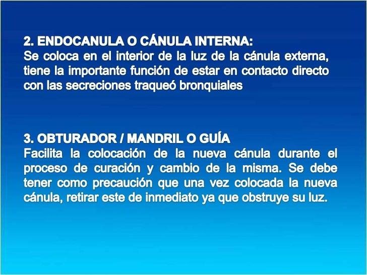 2. ENDOCANULA O CÁNULA INTERNA: <br />Se coloca en el interior de la luz de la cánula externa, tiene la importante función...