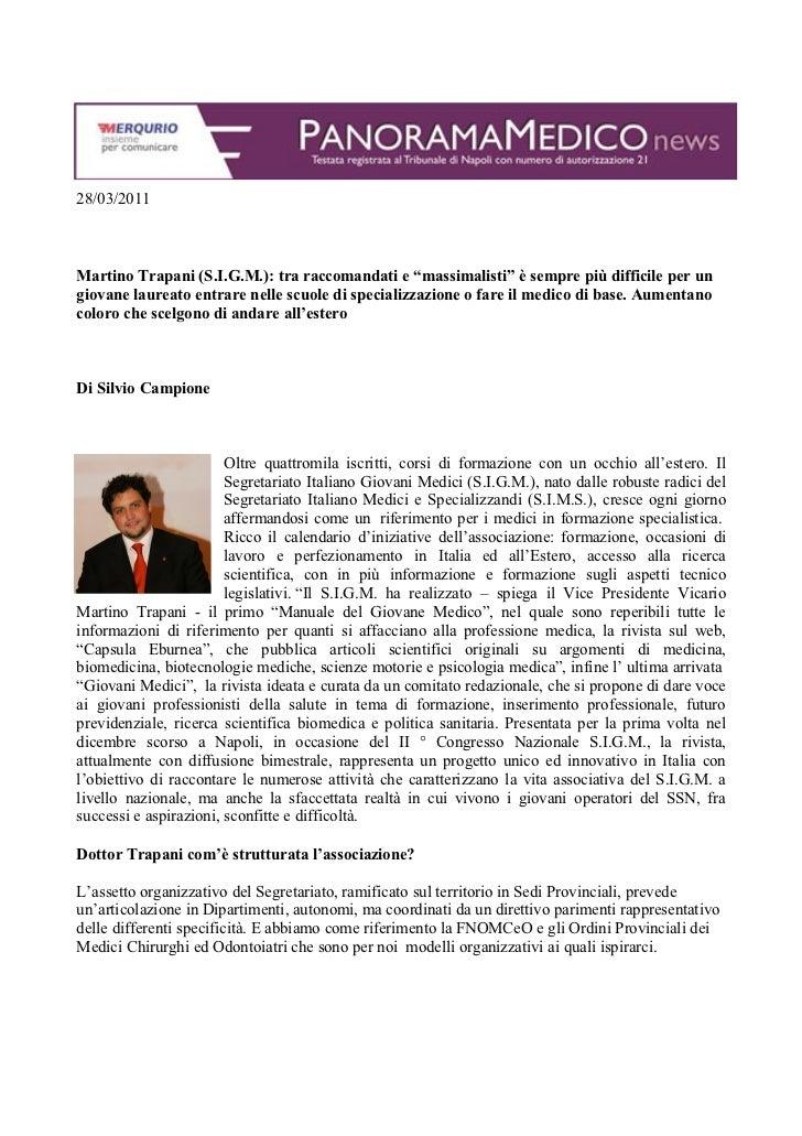 """28/03/2011Martino Trapani (S.I.G.M.): tra raccomandati e """"massimalisti"""" è sempre più difficile per ungiovane laureato entr..."""