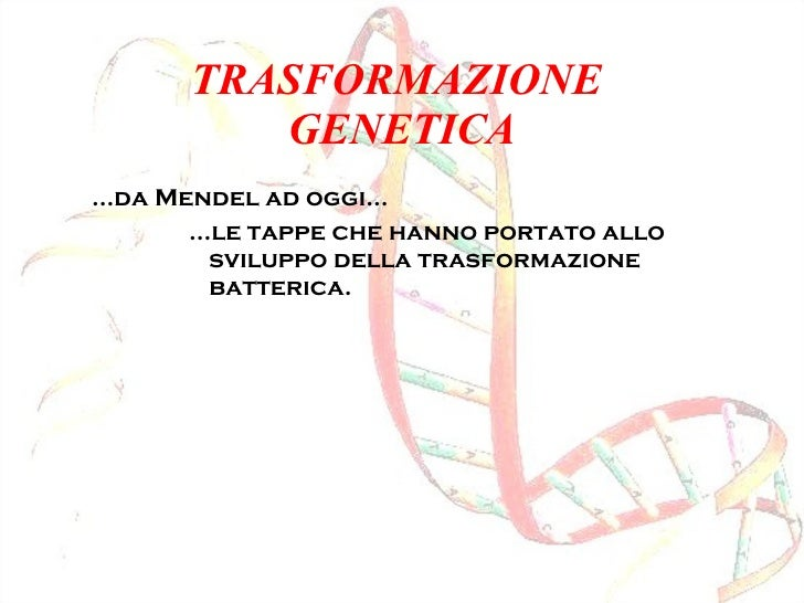 TRASFORMAZIONE  GENETICA <ul><li>… da Mendel ad oggi… </li></ul><ul><ul><ul><ul><li>… le tappe che hanno portato allo svil...