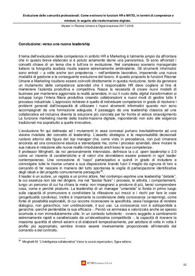 Evoluzione delle comunità professionali. Come evolvono le funzioni HR e MKTG, in termini di competenze e mindset, in segui...