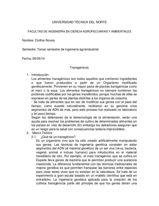 UNIVERSIDAD TÉCNICA DEL NORTE FACULTAD DE INGENIERÍA EN CIENCIA AGROPECUARIAS Y AMBIENTALES Nombre: Cinthia Novoa Semestre...