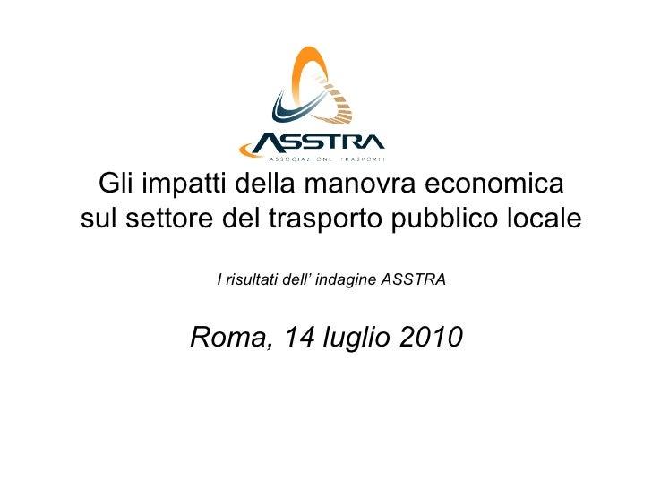 Gli impatti della manovra economica sul settore del trasporto pubblico locale            I risultati dell' indagine ASSTRA...