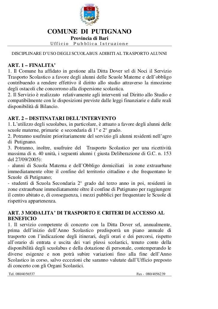 COMUNE DI PUTIGNANO                                Provincia di Bari                     Ufficio     Pubblica Istruzione D...