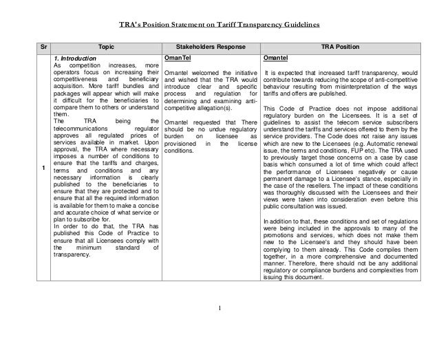 TRA's Position Statement on Tariff Transparency Guidelines 1 Sr Topic Stakeholders Response TRA Position 1 1. Introduction...