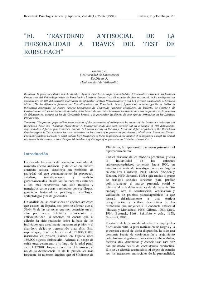 """Revista de Psicología General y Aplicada, Vol. 44(1), 75-86. (1991) Jiménez, F. y De Diego, R. """"EL TRASTORNO ANTISOCIAL..."""