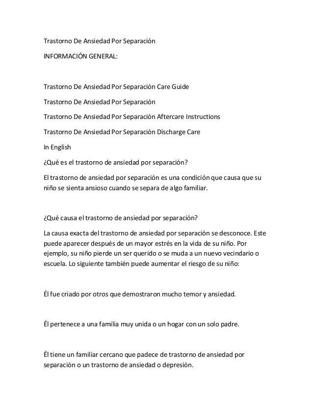 Trastorno De Ansiedad Por Separación INFORMACIÓN GENERAL: Trastorno De Ansiedad Por Separación Care Guide Trastorno De Ans...