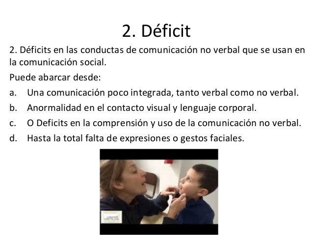 2. Déficit 2. Déficits en las conductas de comunicación no verbal que se usan en la comunicación social. Puede abarcar des...
