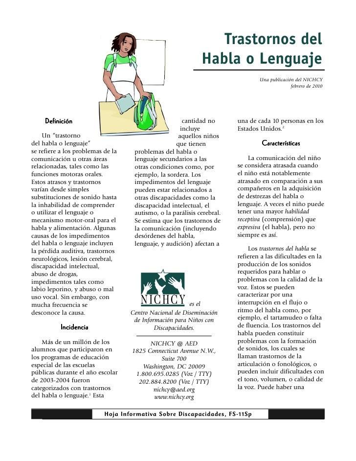 Trastornos del                                                             Habla o Lenguaje                               ...