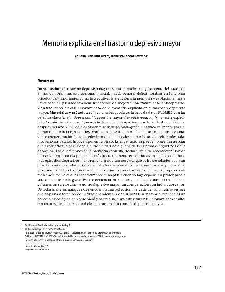 Memoria explícita en el trastorno depresivo mayor                                                        Adriana Lucía Rui...