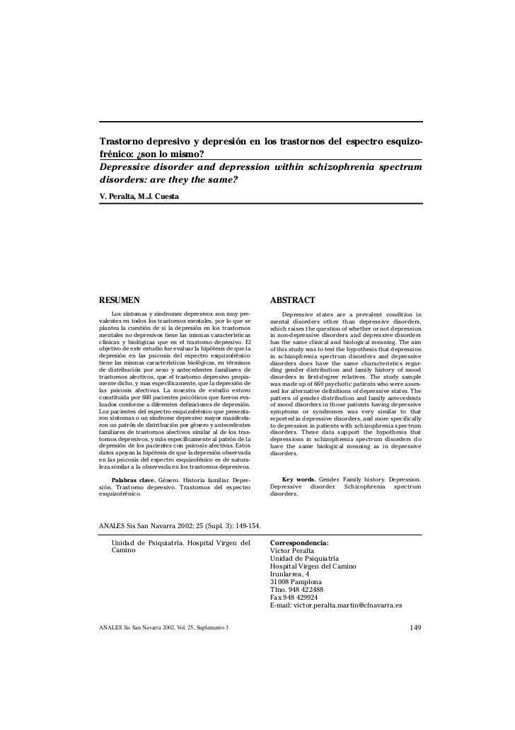 Trastorno depresivo y depresión en los trastornos del espectro esquizo-frénico: ¿son lo mismo?Depressive disorder and depr...