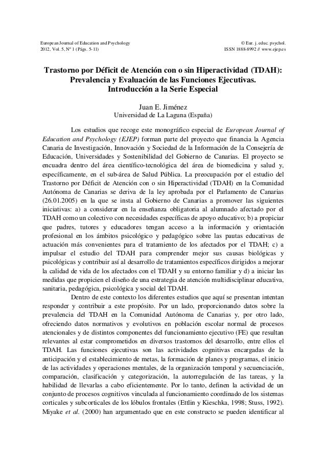European Journal of Education and Psychology 2012, Vol. 5, Nº 1 (Págs. 5-11) © Eur. j. educ. psychol. ISSN 1888-8992 // ww...