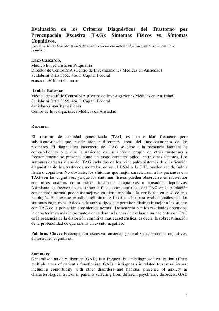 Evaluación de los Criterios Diagnósticos del Trastorno por Preocupación Excesiva (TAG): Síntomas Físicos vs. Síntomas Cogn...