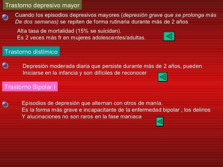 Trastorno depresivo mayor Trastorno distímico Trastorno Bipolar I Cuando los episodios depresivos mayores ( depresión grav...